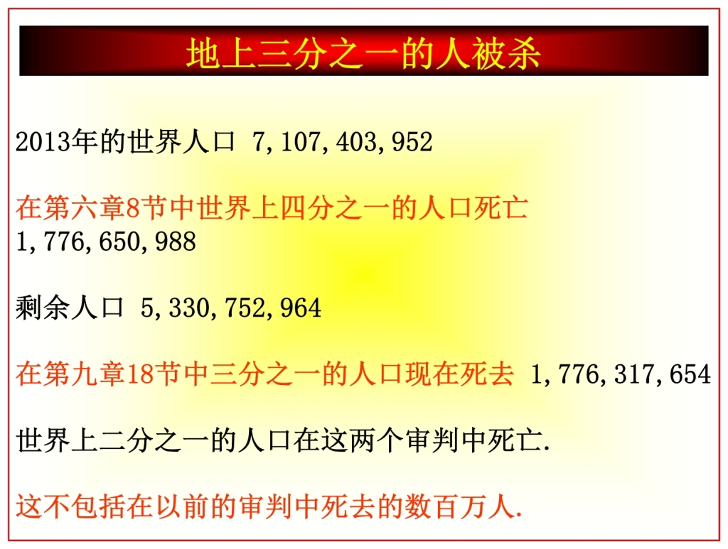 Half the world has died thus far to the mid point of the Tribulation Chinese Language Bible Lesson Day of Atonement