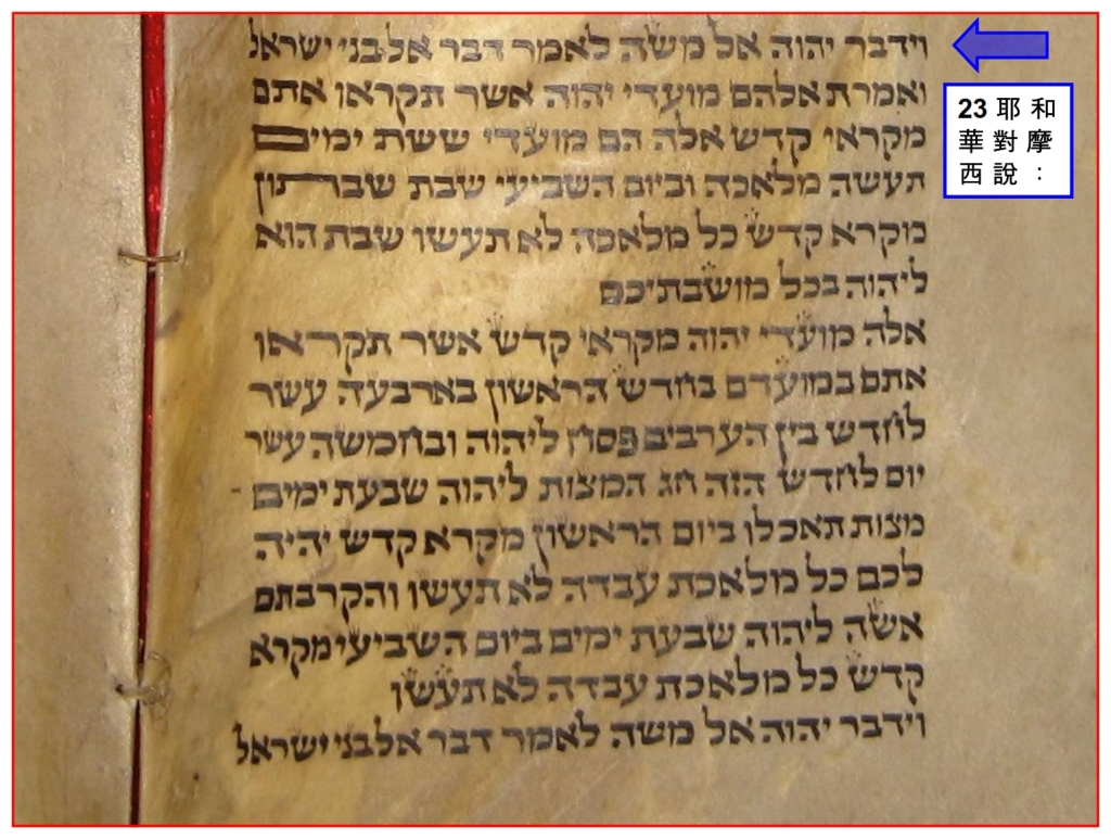 Close up of Torah Scroll showing Leviticus 23 Feasts of the Lord Chinese language Bible study