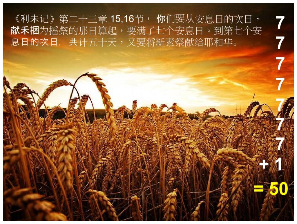 Chinese Language Bible Lesson Feast of Weeks Seven weeks of 7 +1 = 50 days