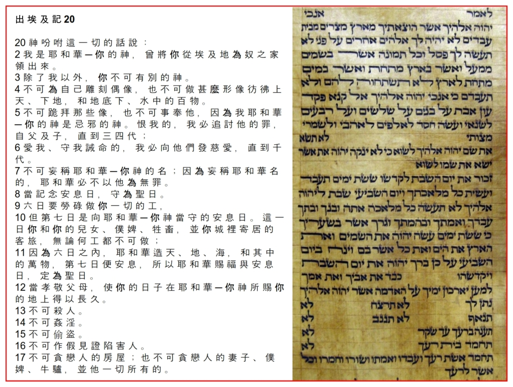 Hebrew 10 Commandments as seen in a Torah Scroll Chinese Language Bible study