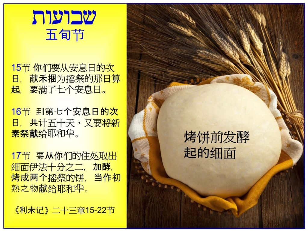 Chinese Language Bible Lesson Feast of Weeks Leaven is used in this feast