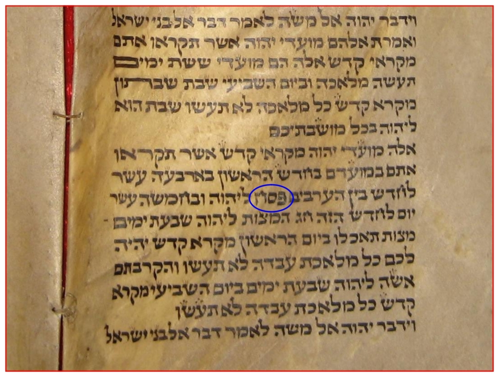 Leviticus 23 Torah Scroll showing the word Passover in Hebrew Chinese Language Bible study