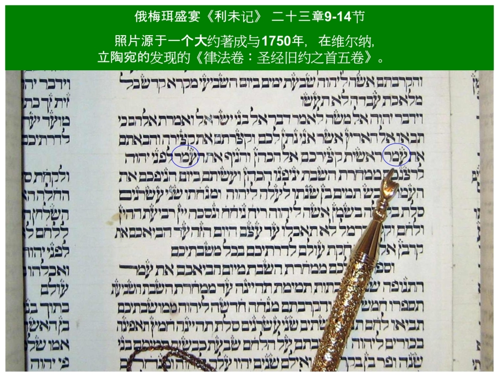 Chinese Language Bible Lesson First Fruits Hebrew Torah Scroll Leviticus 23