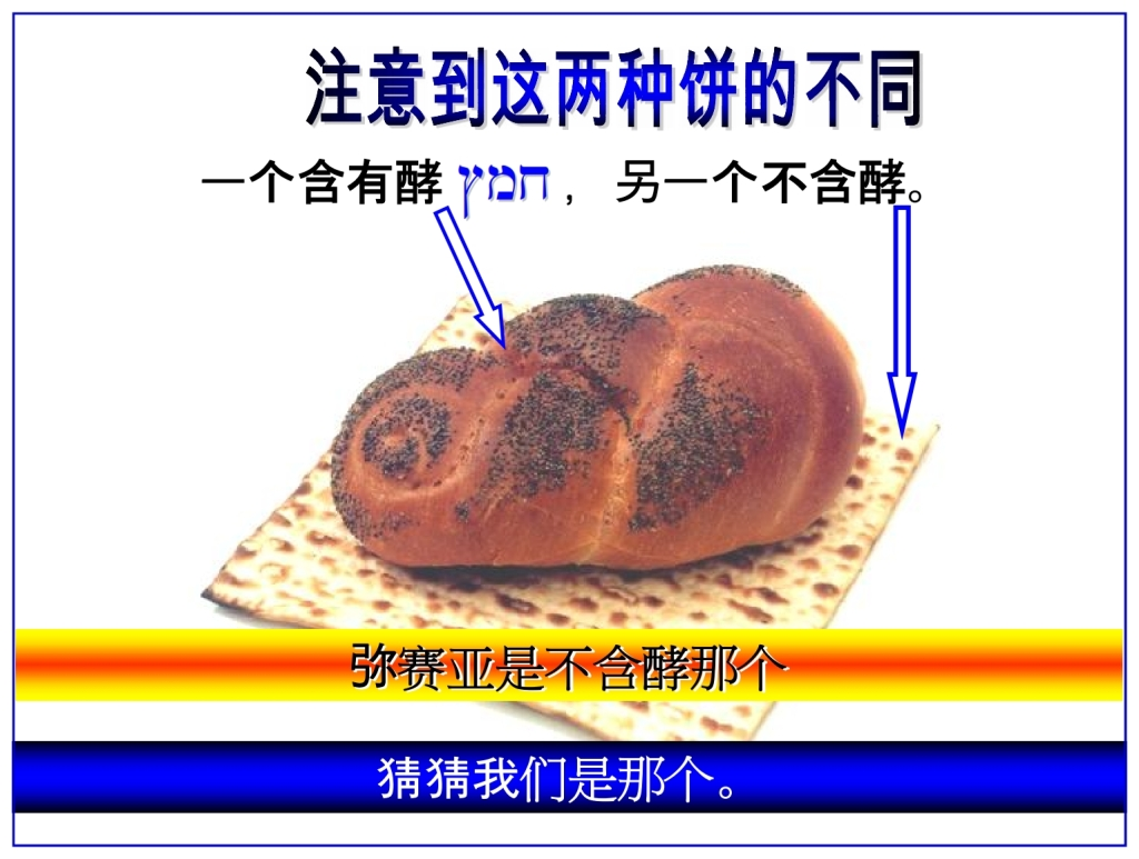 Chinese Language Bible Lesson Feast of Weeks compare unleavened bread and Bread baked with leaven