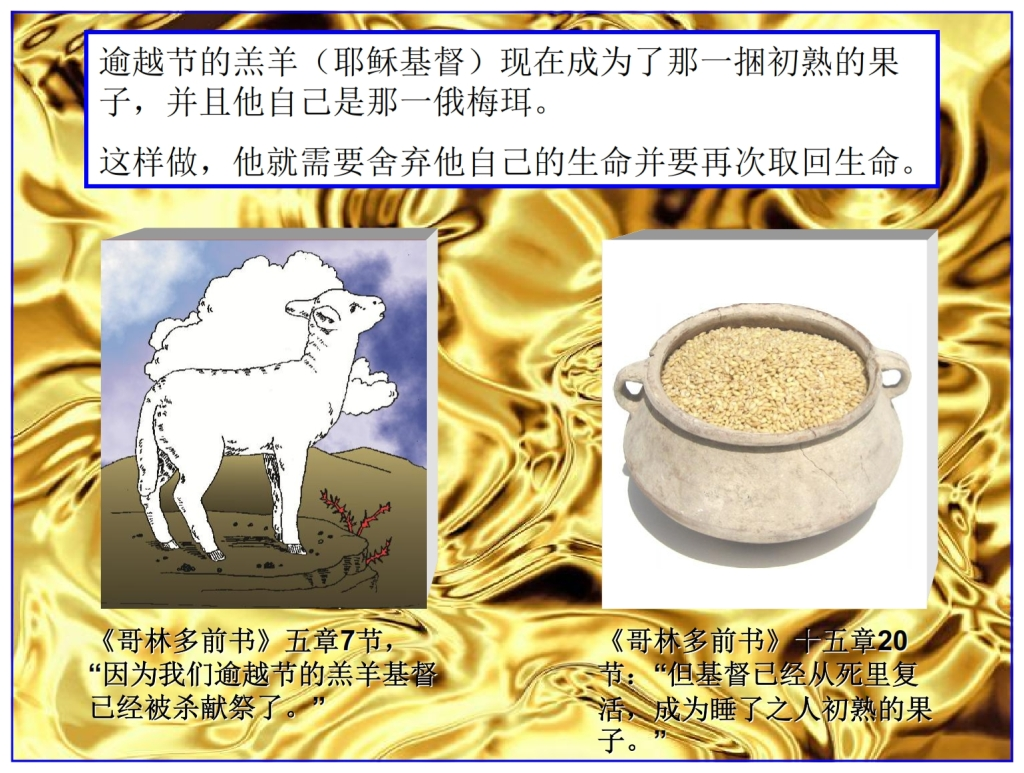 Chinese Language Bible Lesson First Fruits Boaz Jesus fulfilled the feast of First Fruits