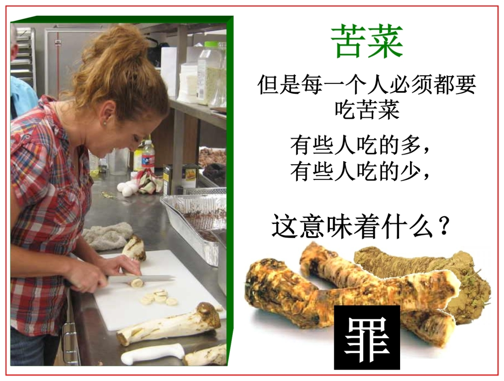 Chinese Language Bible Lesson Horseradish was eaten in Egypt for Passover