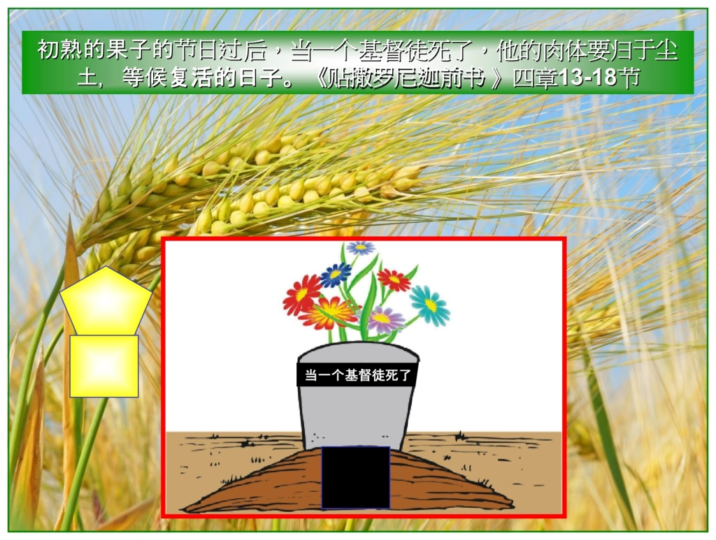 Chinese Language Bible Lesson The Feast of First Fruits since then when a believer dies his spirit goes to the Father