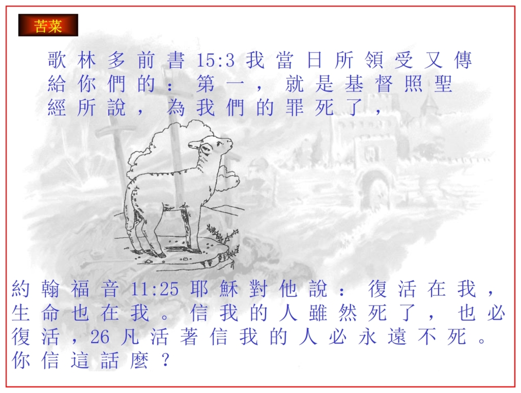 Chinese Language Bible Lesson The Passover Lamb replaced death with life