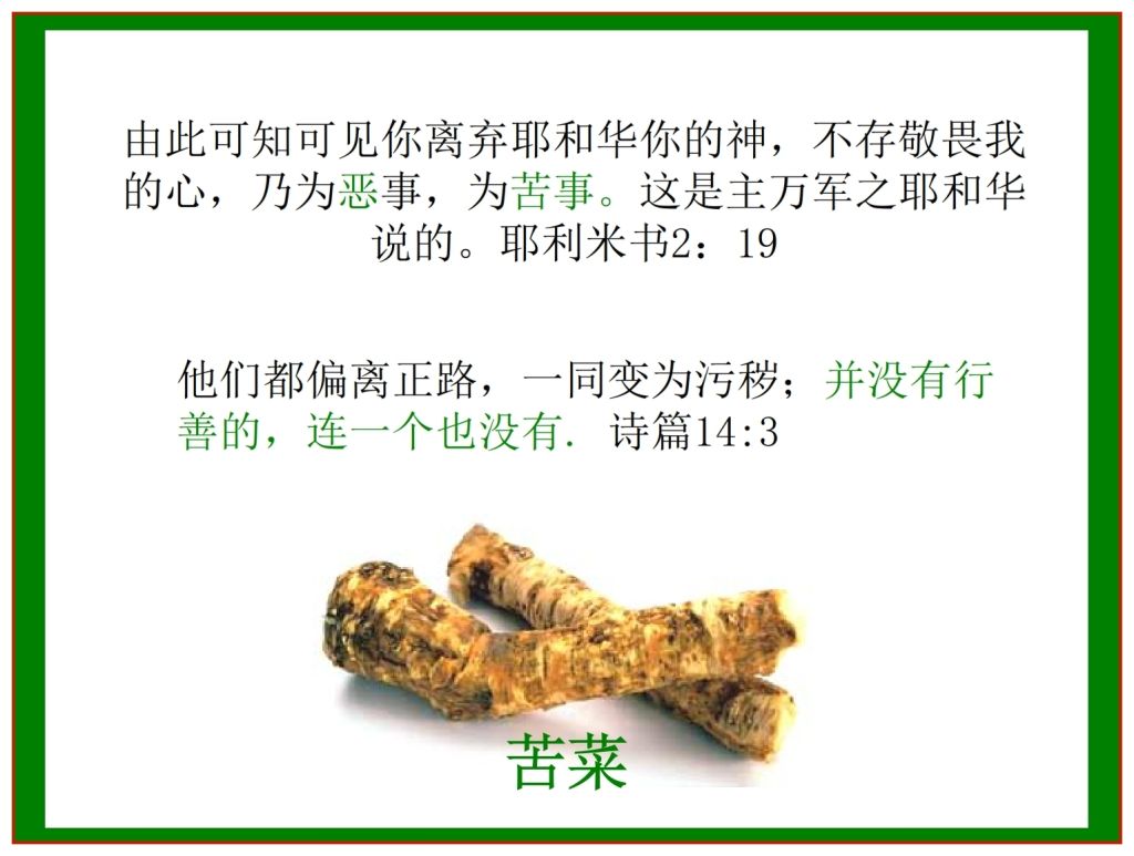 Chinese Language Bible Lesson The bitter herbs of Passover