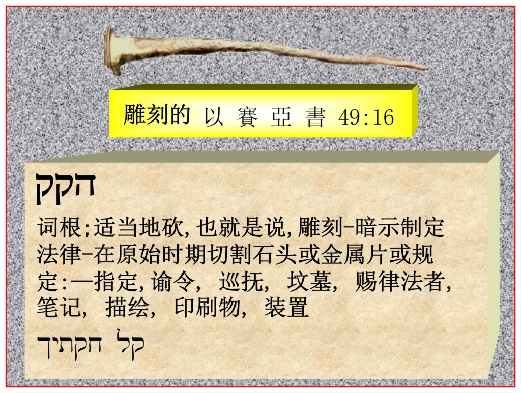 Chinese Language Bible Lesson Isaiah 49:16 engraved on God's hands