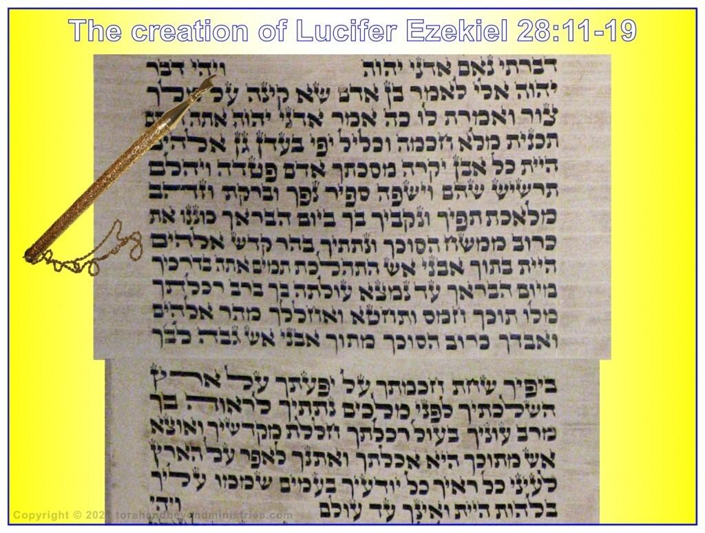 The creation of Lucifer photograph of Ezekiel 28 from an old Hebrew Scroll of Ezekiel written in Poland.