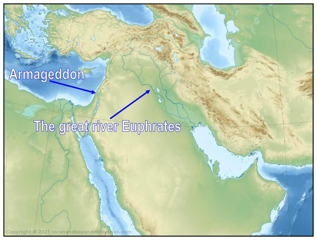 Armageddon in relation to the great River Euphrates.