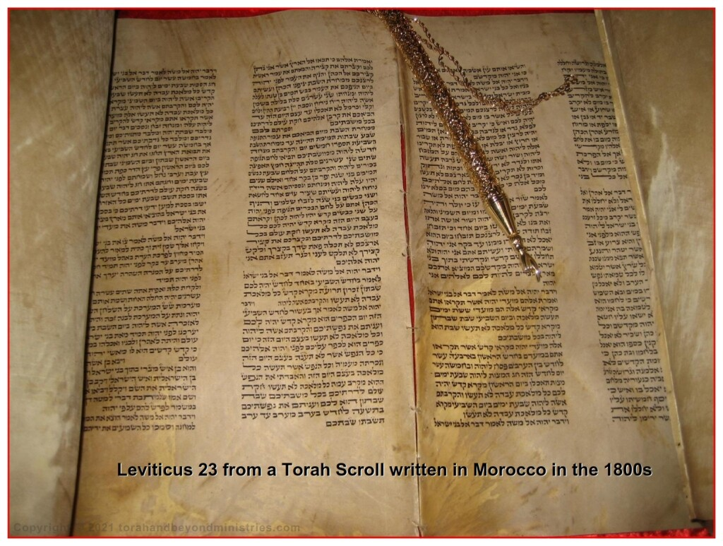Torah written in Poland 1800s showing Leviticus 23 - Feasts of the Lord Leviticus 23