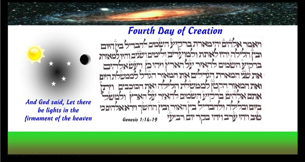 """God created the universe on the fourth day """"and God said, let there be lights in the firmament of the heaven"""""""