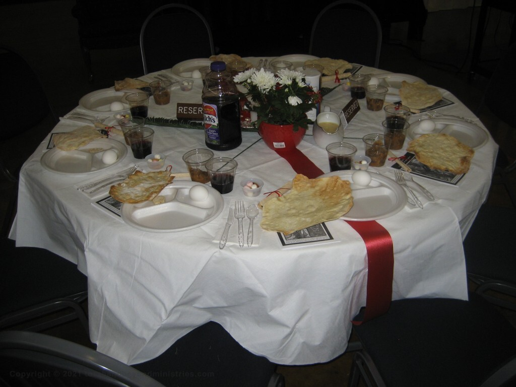 Seder table set for Passover Bible study.