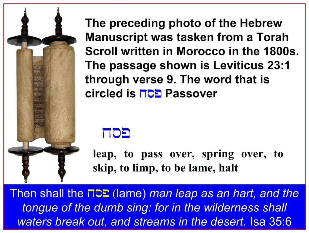 The dual meaning of the word Passover, to become lame and to skip over