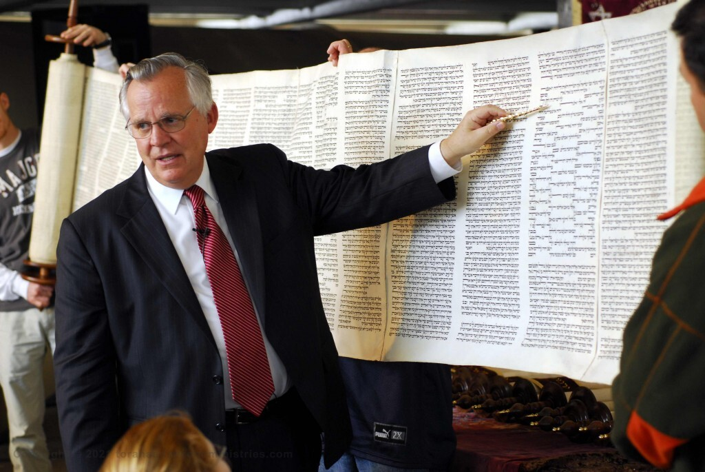 Gary Zimmerman teaching a lecture on Hebrew Scrolls. Photograph, crossing the Red Sea