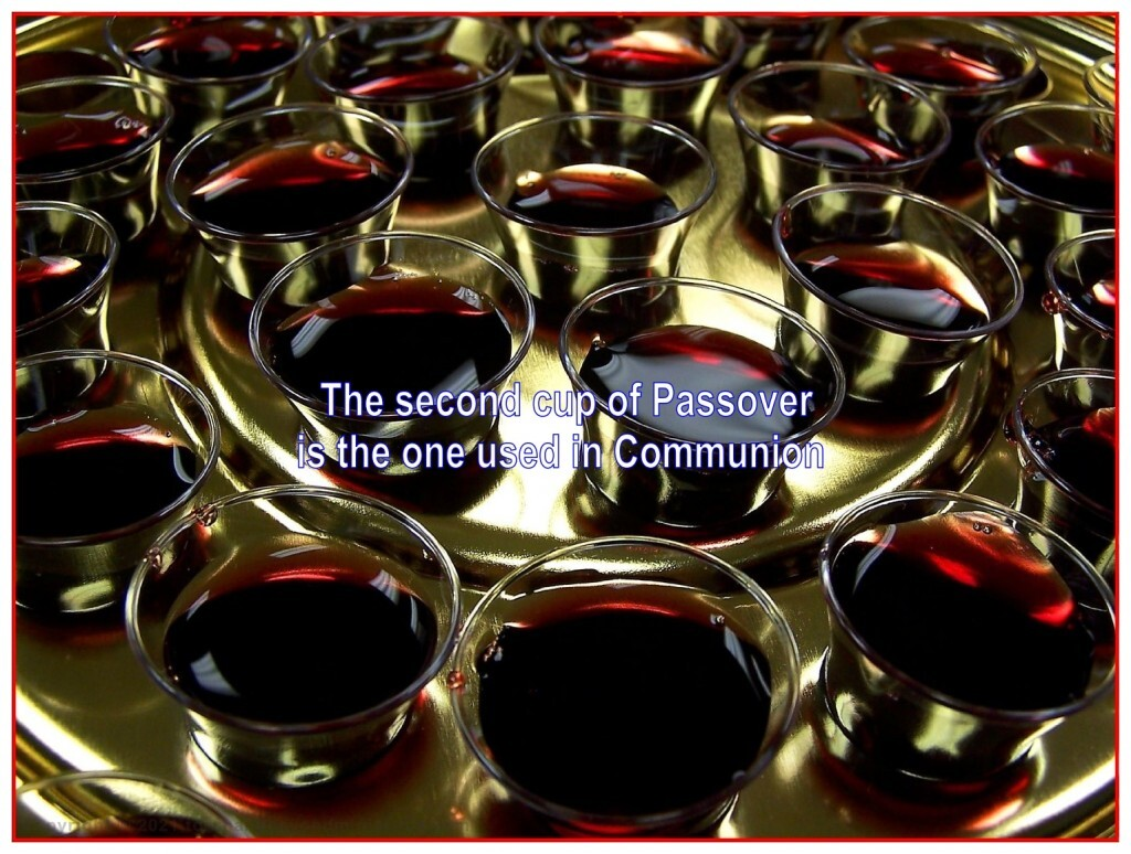 We drink the second cup of the fruit of the vine at communion to remember the shed blood of Christ until He returns.