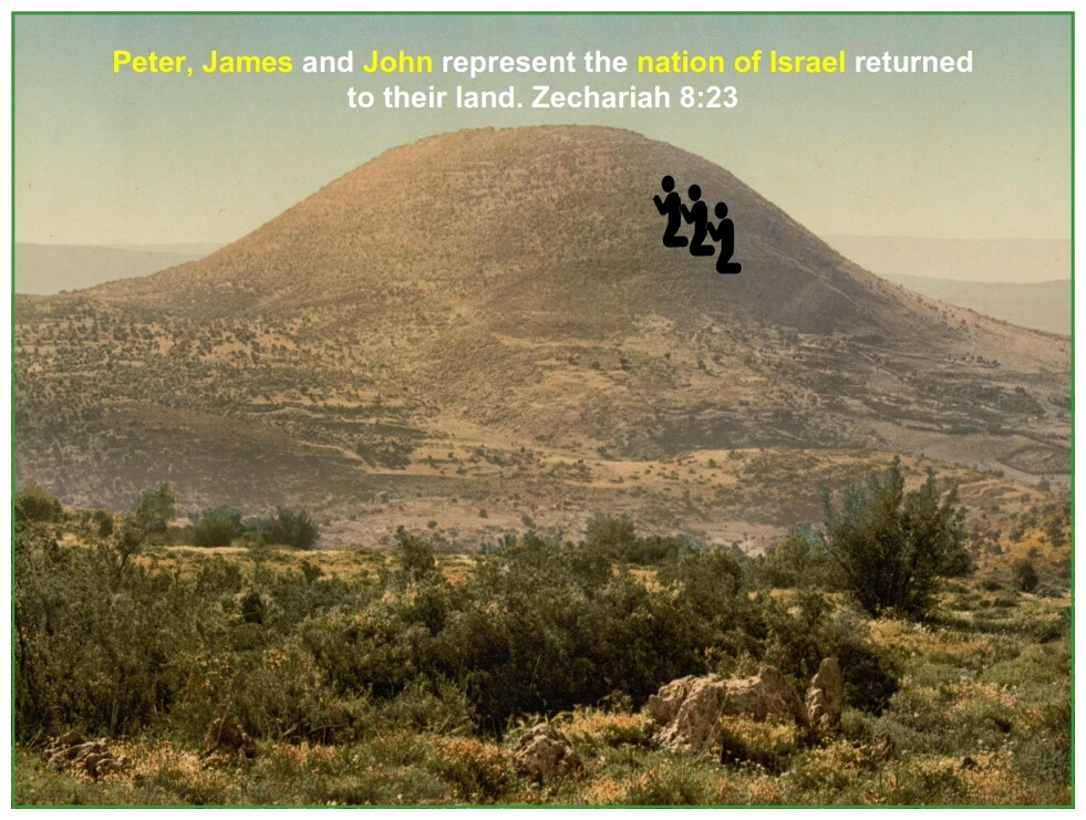 Peter, James and John represent the nation of Israel returned to their land. Zechariah 8:23