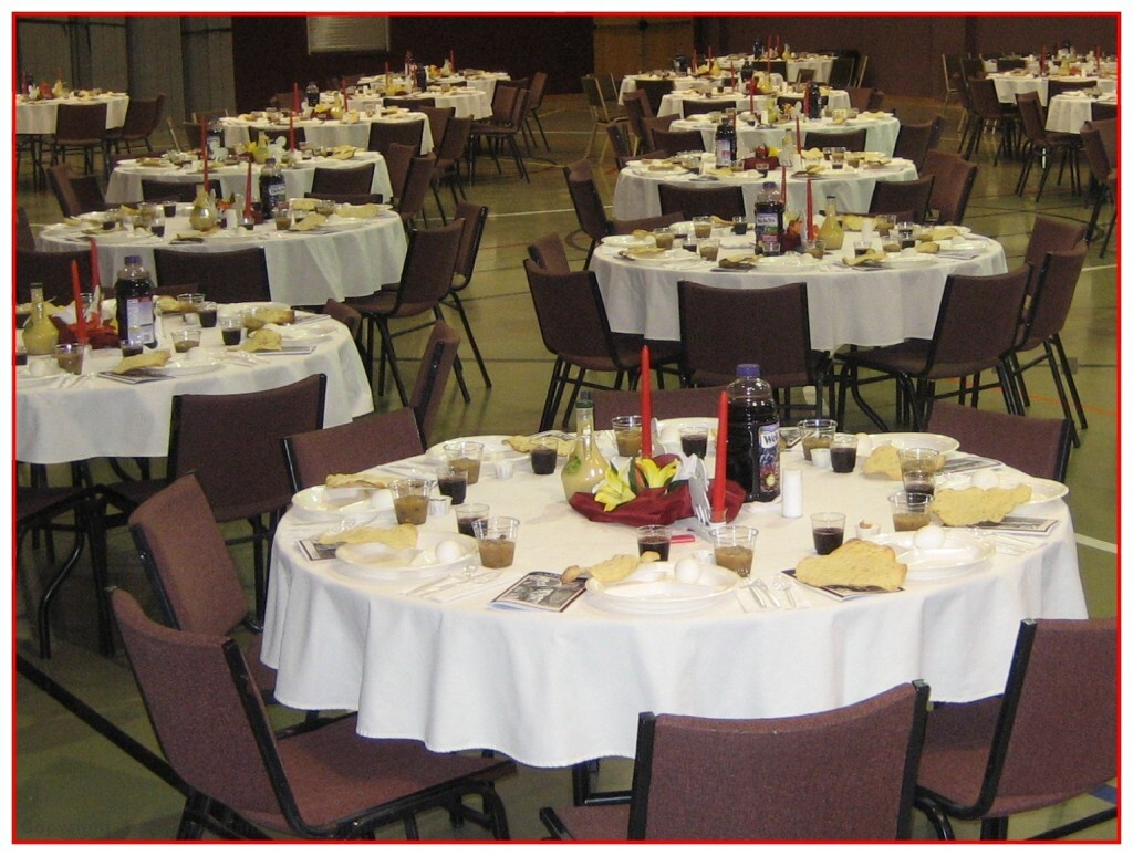Tables set for 200 people at Passover Seder in Dallas