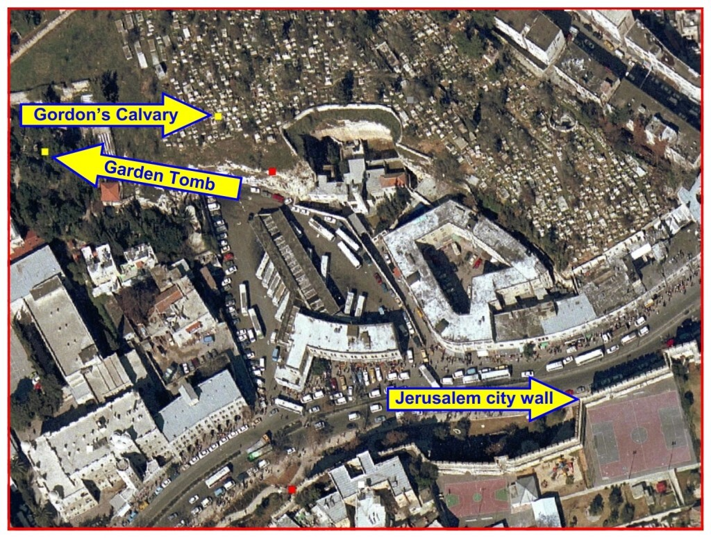 The distance from Golgotha to the Garden Tomb is 230 feet (70 meters)