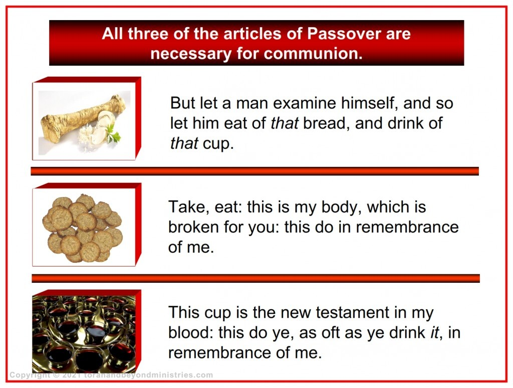 The three articles of Passover are seen at the New Birth