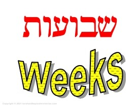 Feast of Weeks written in Hebrew and English