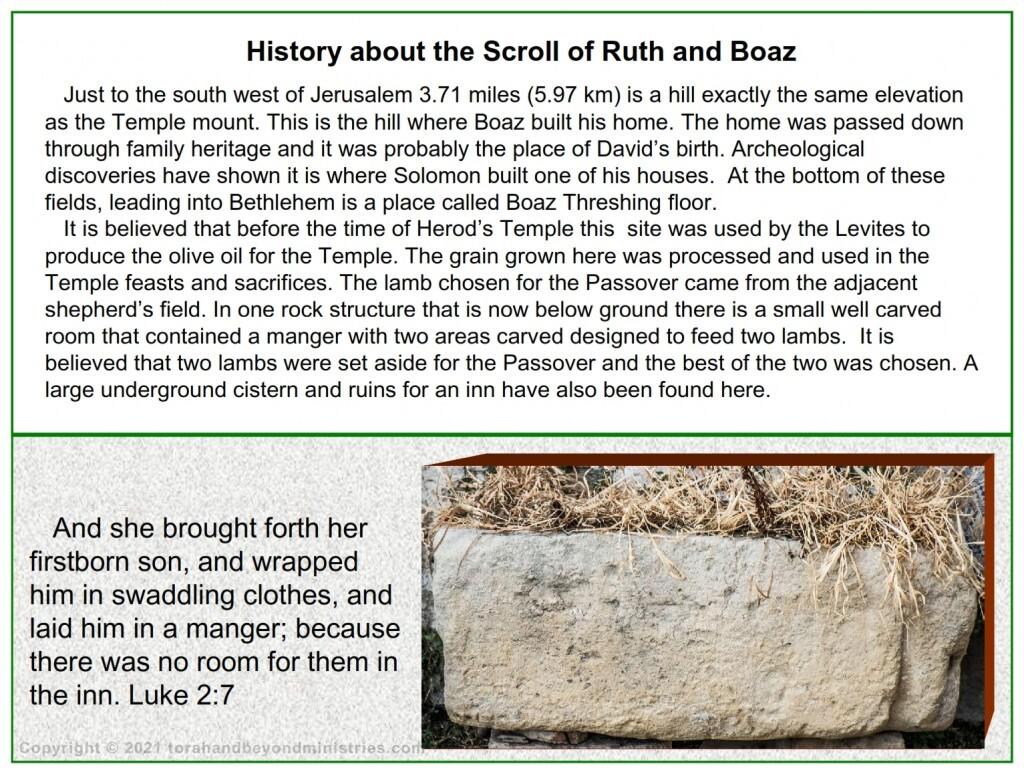 A carved stone manger used to feed sheep was found near Bethlehem at Boaz threshing floor.