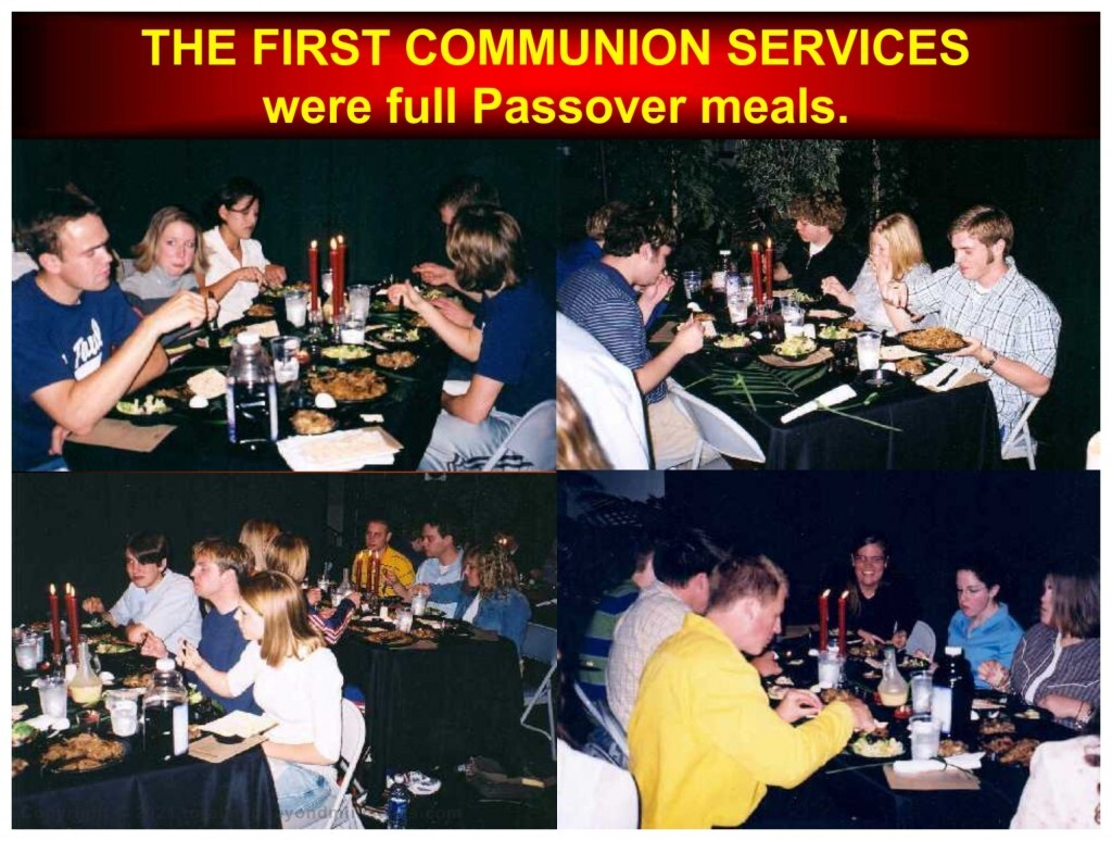 The first communion services were full Passover meals. This Passover Bible study in St. Charles, Missouri was a full passover meal with roast lamb, unleavened bread and bitter herbs.
