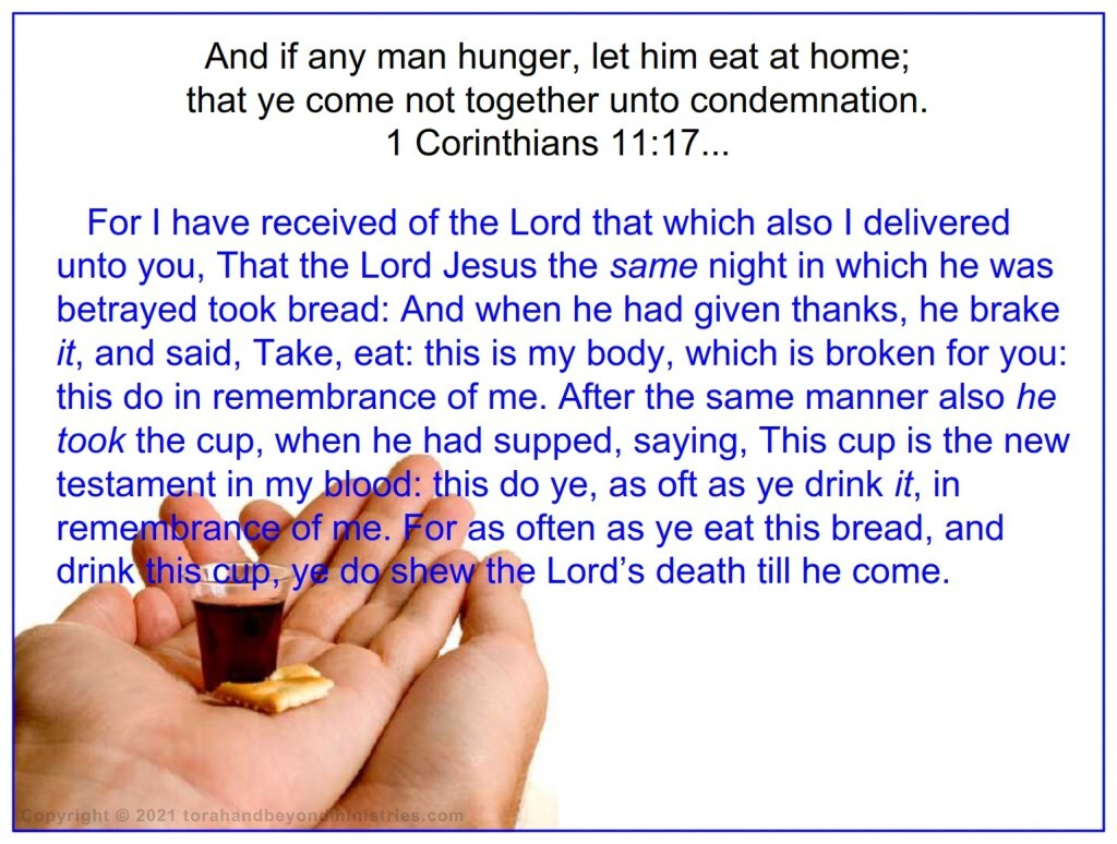 The ordinance of communion was changed from a full meal in 1 Corinthians 11.