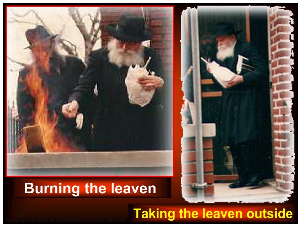 Rabbi Schneerson removing Chametz, leaven, from home before Passover