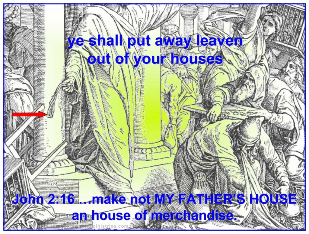Jesus cleaning His Father's house, the Temple in Jerusalem, for Passover