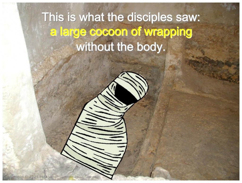 Jesus body was wrapped as a mummy with much spices and much linen around and around many times. He could have nor been removed from the wrapping unless the wrapping was unwound.