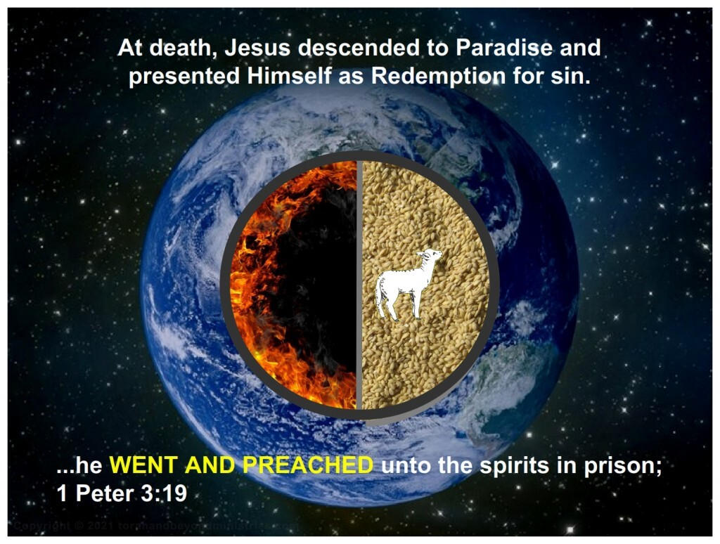 When Jesus Died He went to Paradise and presented Himself. He did not go to the place of torments.