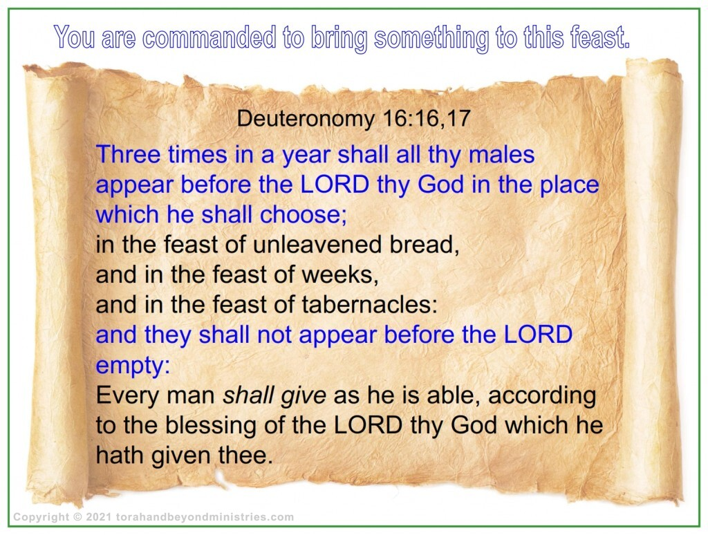 You are commanded to bring something to the Feast of Tabernacles.