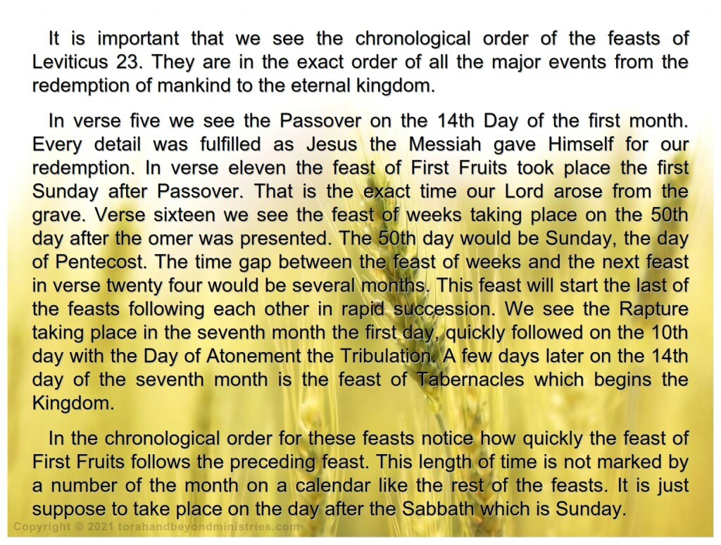 The chronological order of the Feasts of the Lord is very important