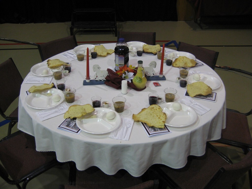 Table setting for Passover Seder Bible study  seating eight