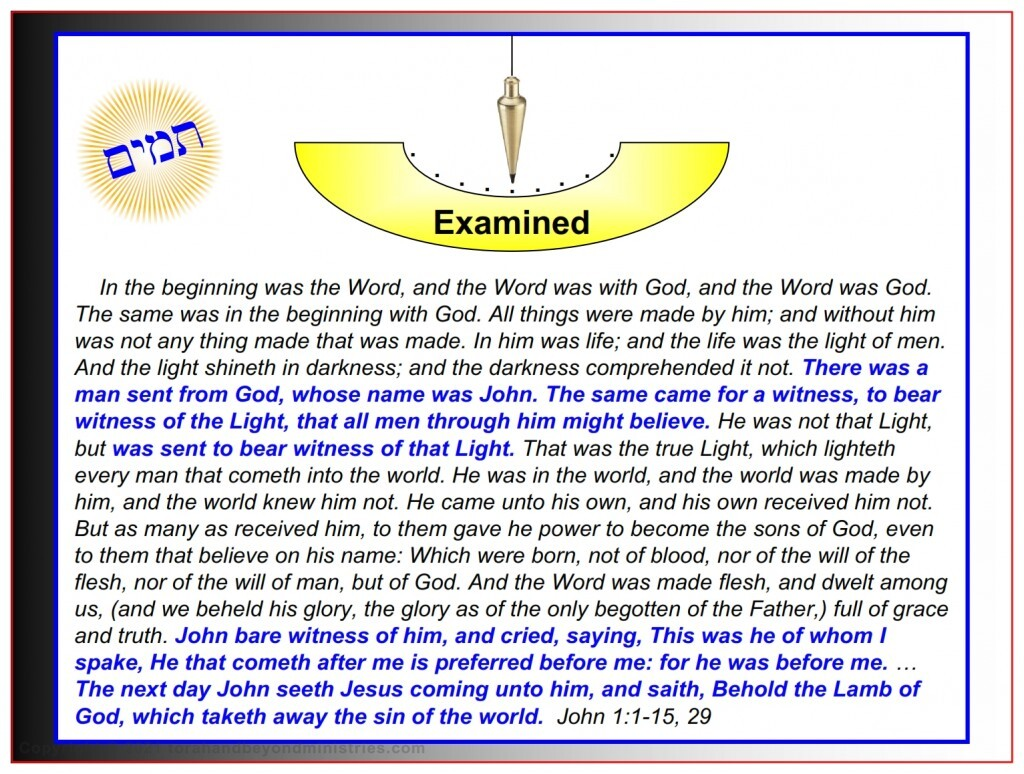 Jesus was examined by John the baptist and declared to be the Lamb of God