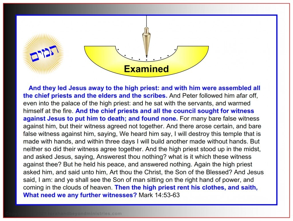The High Priest examined Jesus and brought in false witnesses to prove Him sinful