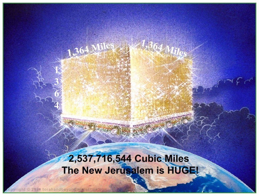 The New Jerusalem is 1,364 miles wide, broad, and high 2,537,716,544 cubic miles