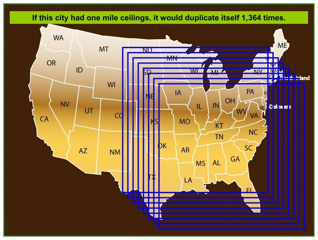 If the New Jerusalem had one mile ceilings, it would duplicate itself 1,364 times.