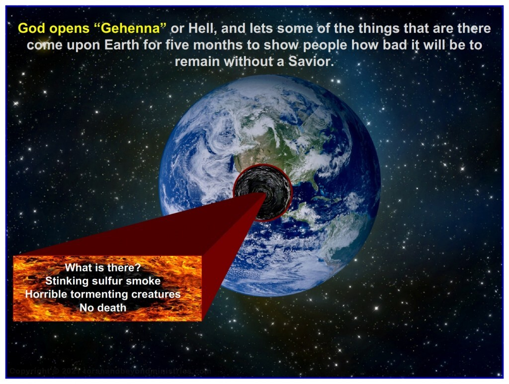Some of the things in Hell come upon Earth during this Tribulation judgment. You do not want to be on Earth then.