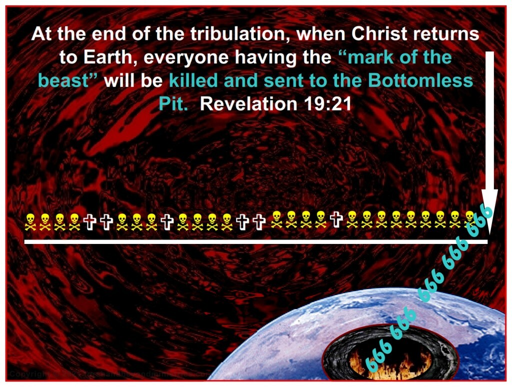When Christ returns, ALL who have received the Mark of the Beast are killed and sent to the Bottomless Pit.