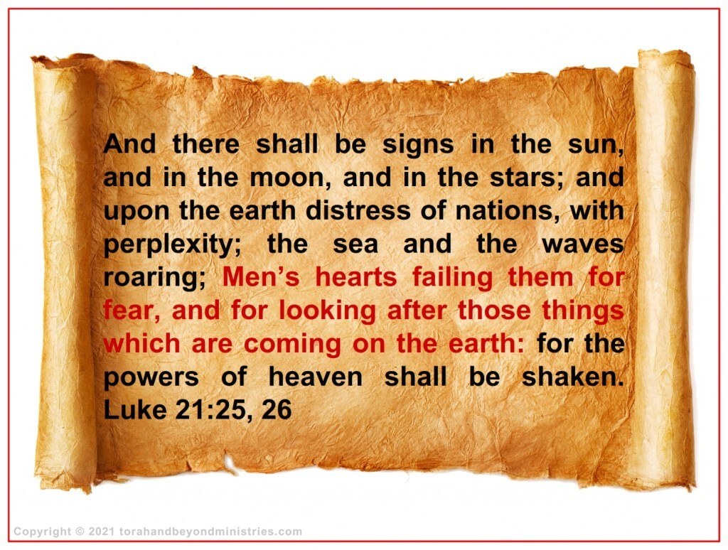 Luke 21:25 written in English on parchment