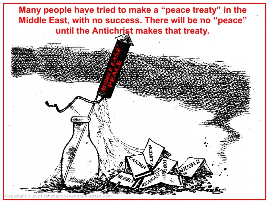 There will be no Middle East peace until the Antichrist brings a false peace to the area.