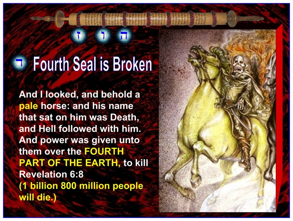 The fourth Seal is broken and a fourth part of the Earth is killed.