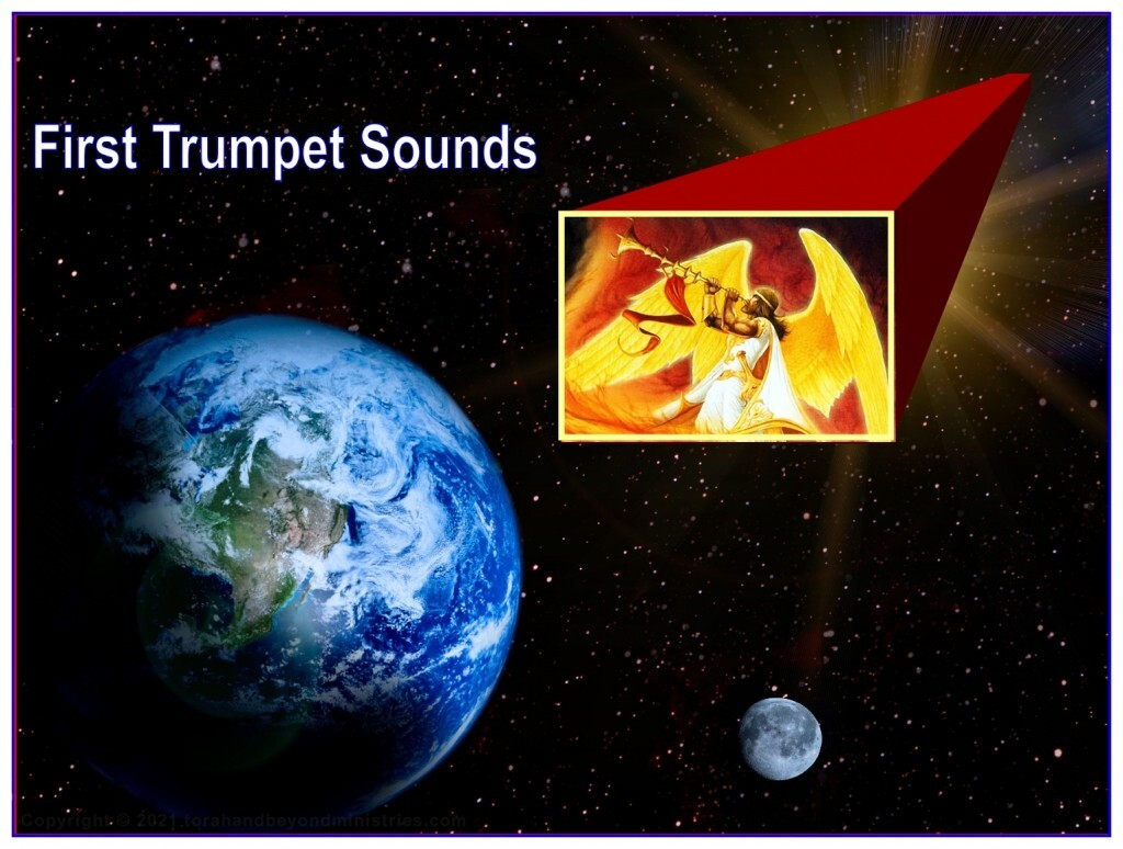 The angel in the Tribulation sounds the first trumpet and God sends judgment upon the Earth.