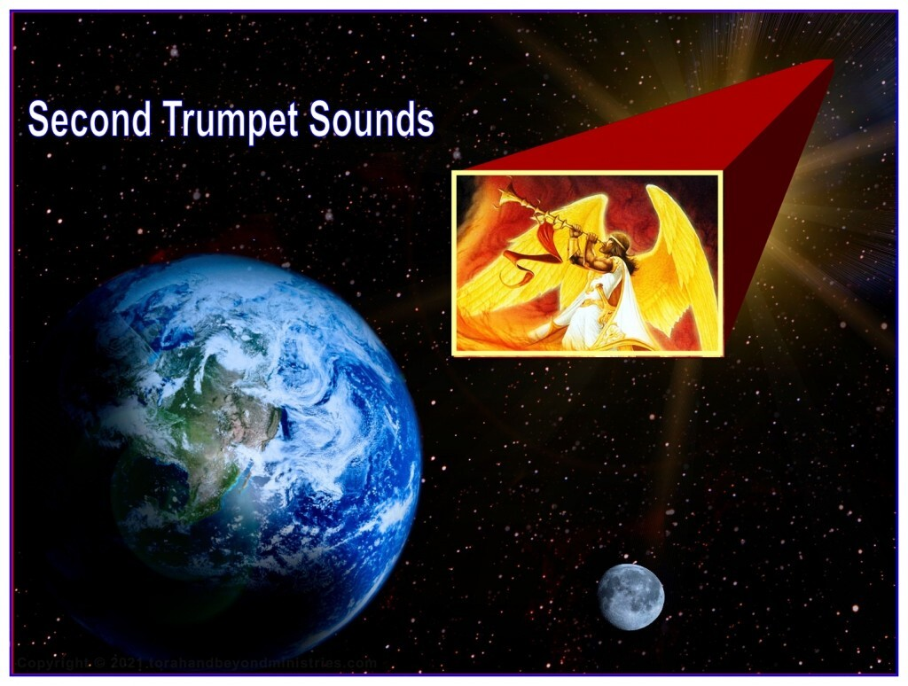 """When the Second Trumpet sounds something like a """"great mountain"""" slams into the ocean and creates a terrific tsunami."""