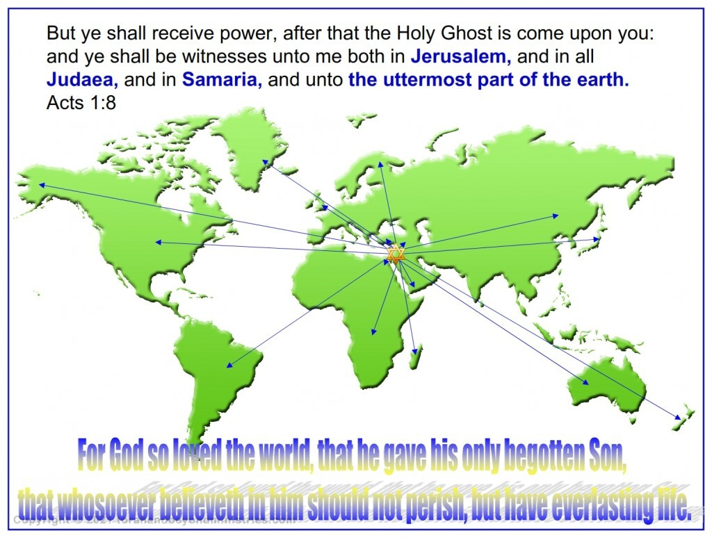 On the day of Pentecost it started. But ye shall receive power, after that the Holy Ghost is come upon you: and ye shall be witnesses unto me both in Jerusalem, and in all Judaea, and in Samaria, and unto the uttermost part of the earth. Acts 1:8