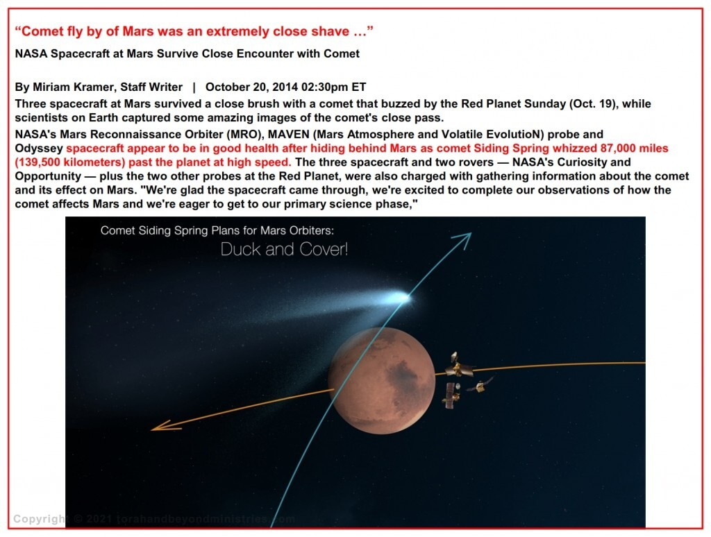 """Unexpected Comet tail brushes Mars - October 20, 2014 02:30pm ET """"Comet fly by of Mars was an extremely close shave …"""""""
